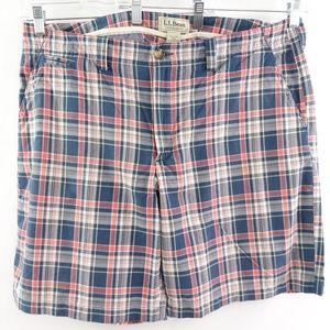 L.L. Bean men's standard fit plaid shorts, 40W